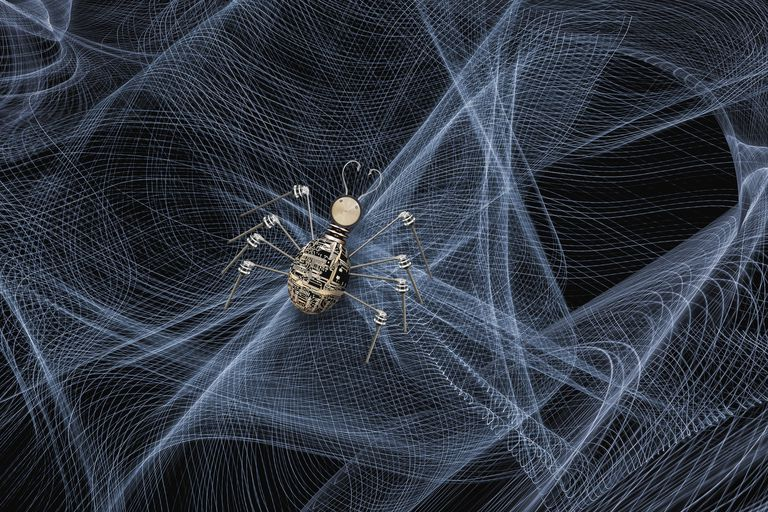 Spider crawling in web of light streams