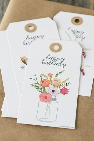 11 sets of free printable gift tags for anytime of year floral birthday gift tags from live laugh rowe negle Choice Image