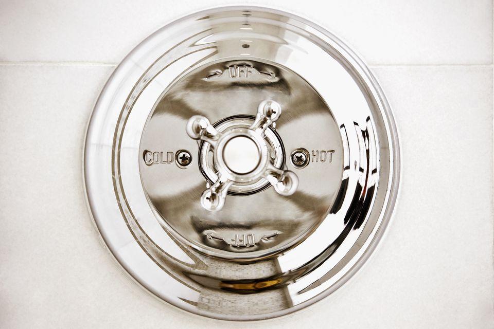 Close-up of a shower knob