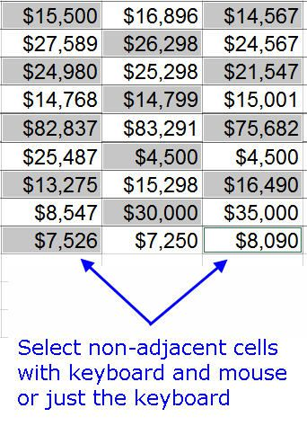 Select Non-adjacent Cells with Keyboard and Mouse in Excel