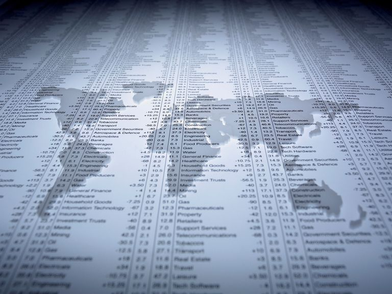 World map outline on list of Index Prices