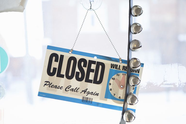 closed sign on business door with jingle bells