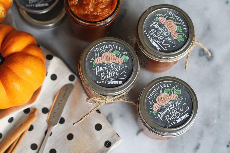 Pumpkin butter chalkboard style canning labels
