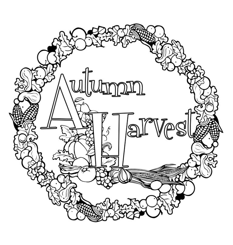 fall coloring pages at giggletime toy co an autumn wreath