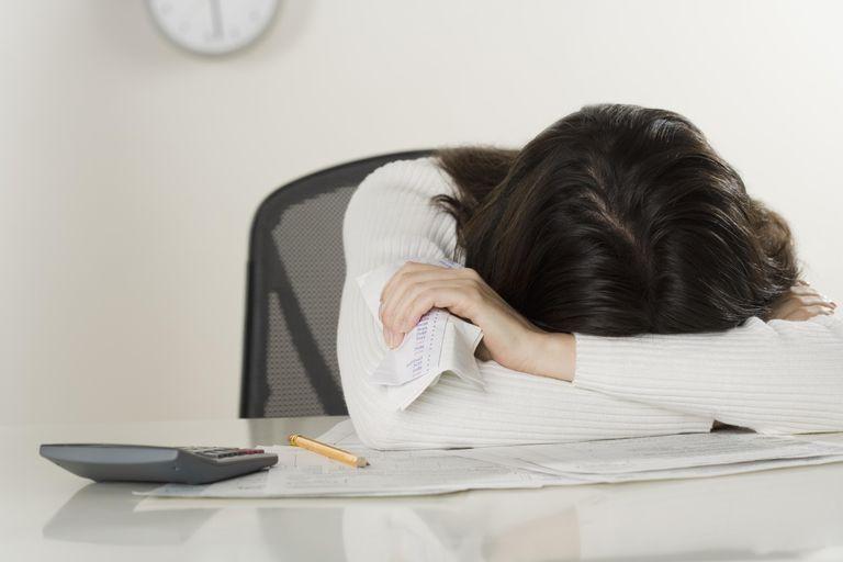 A woman upset over tax return