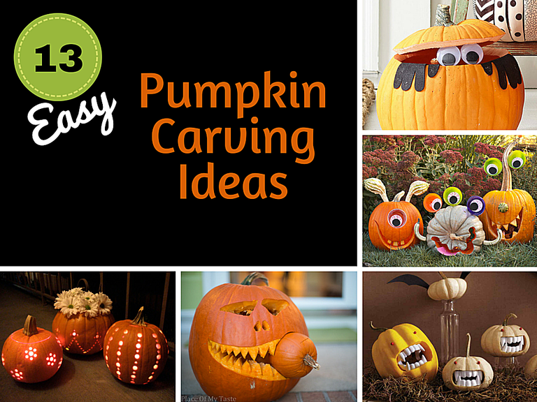 A collage of easy pumpkin carving ideas.