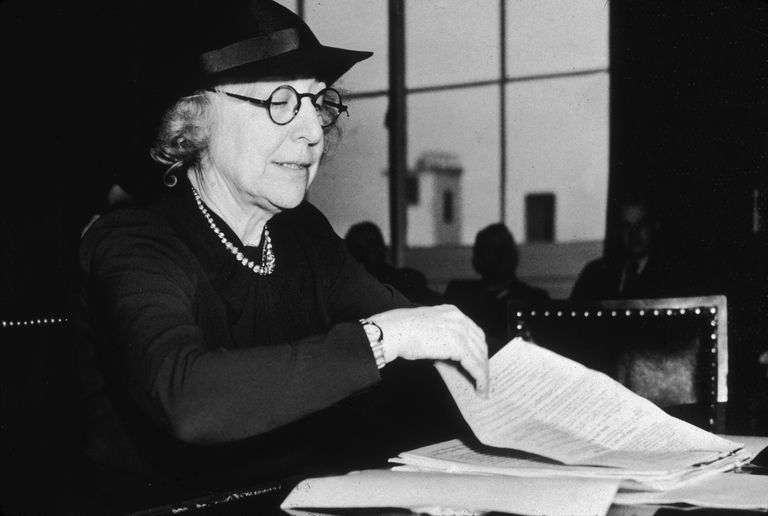 Jeannette Rankin Testifying for House Naval Affairs Committee, 1938