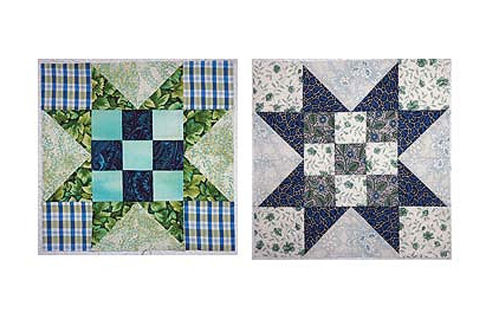 Evening Star Quilt Blocks with Nine Patch Centers