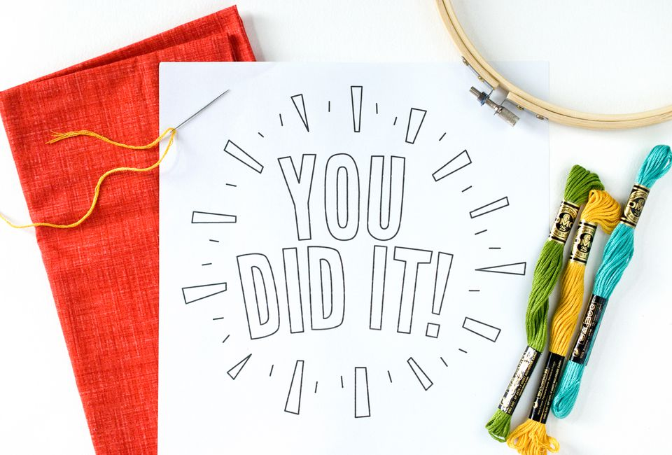 You Did It! Embroidery Pattern