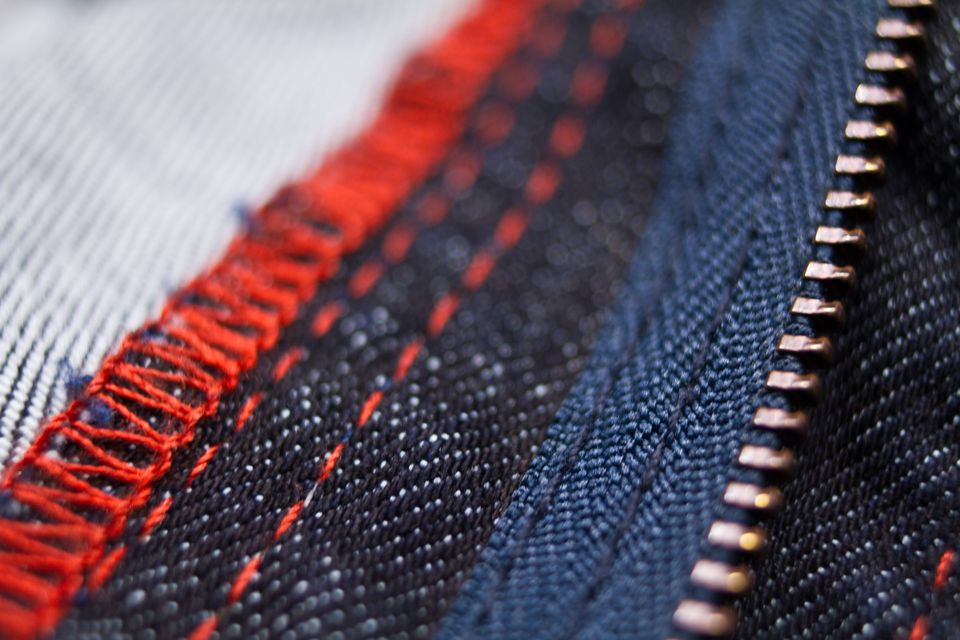 Red and blue strellson jeans close up