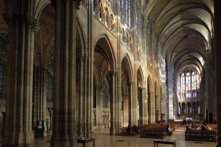 The Basilica of Saint Denis, Paris, Gothic ambulatory designed by Abbott Suger