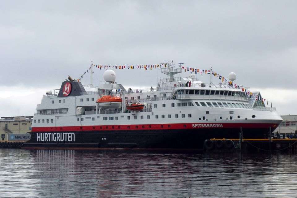 Hurtigruten MS Spitsbergen at the dock in Svolvaer, Norway