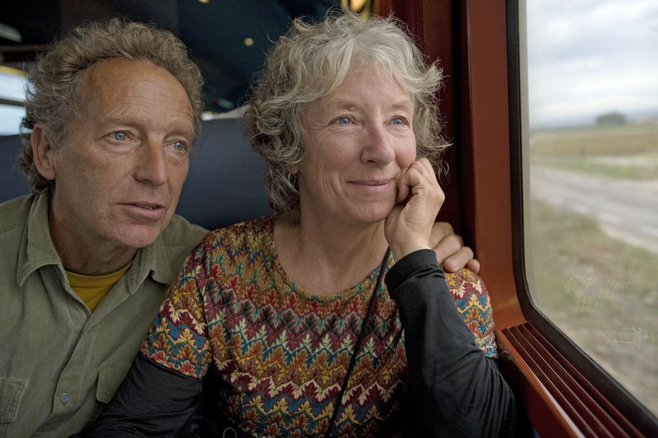 Couple on a train enjoying the view