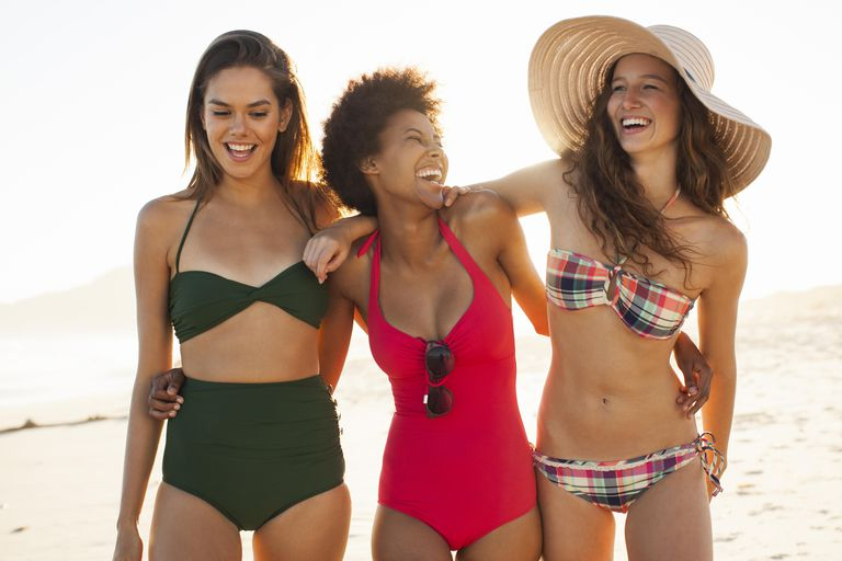 Smiling women at beach
