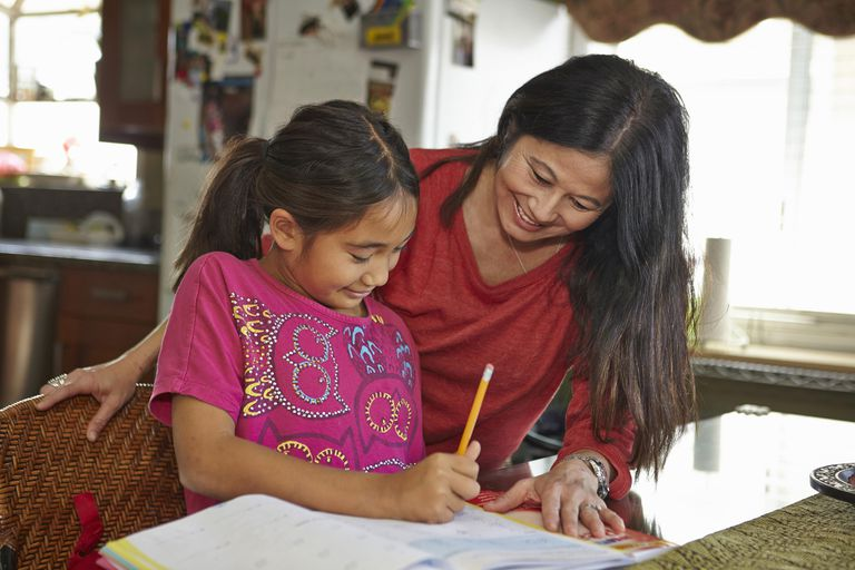 Mother guiding daughter in homework