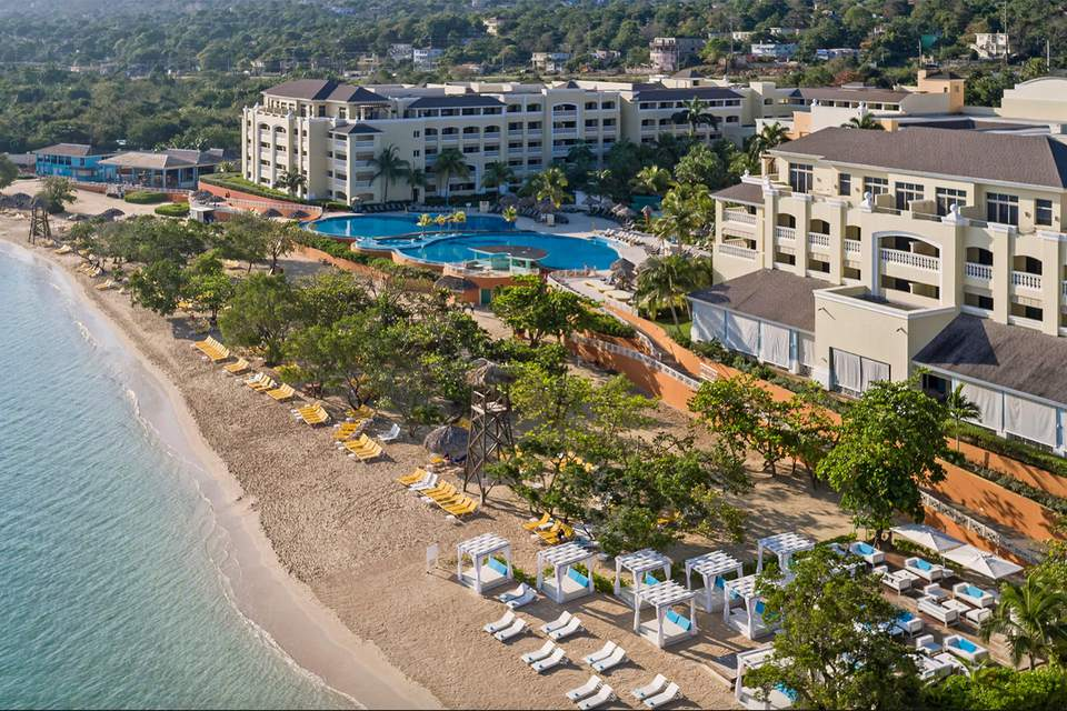 The beach and pools at the Iberostar Grand Resort in Rose Hall, Jamaica