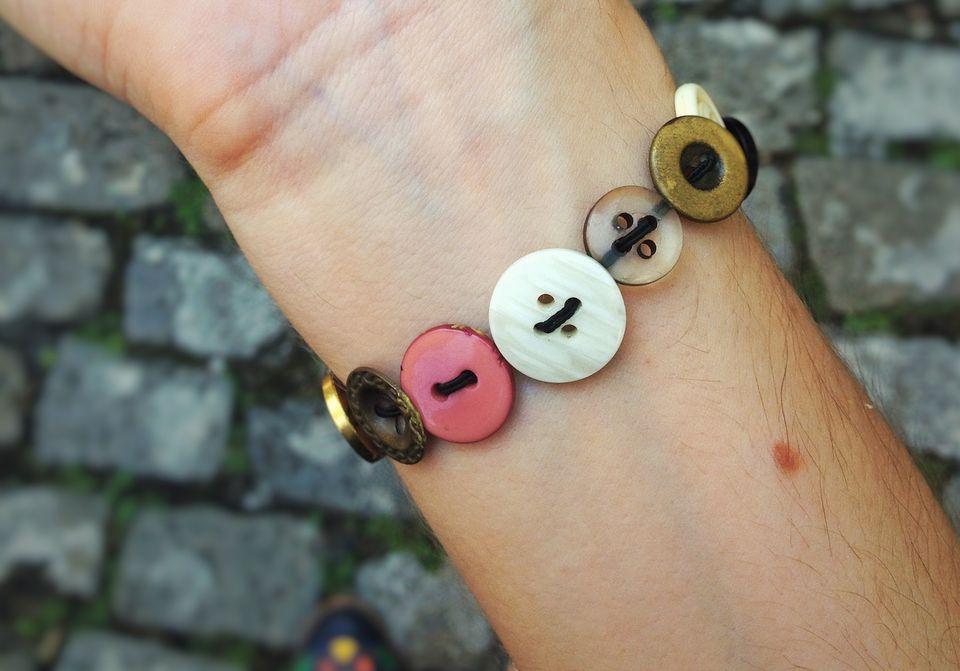 Close-up of a button bracelet