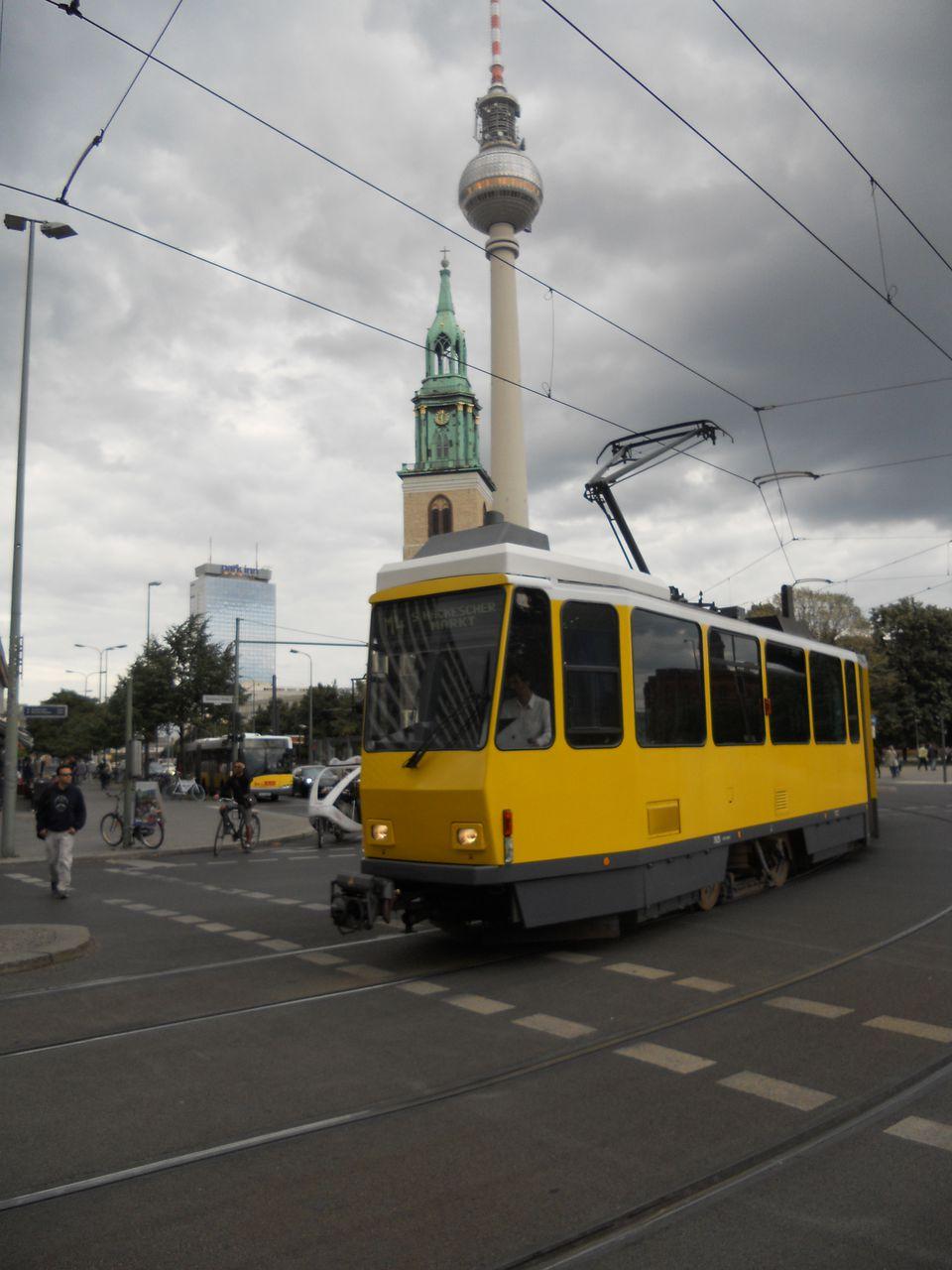 Berlin Fernsehturm and tram.JPG