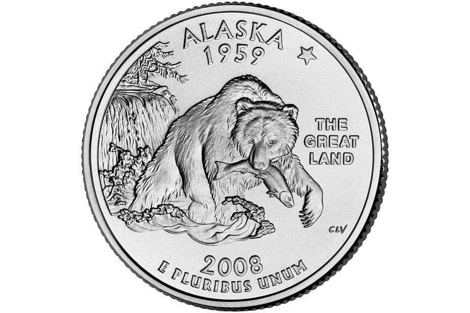 Reverse of the Alaska Fifty State Quarter