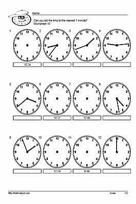 10 worksheets for telling time to the nearest 5 minutes. Black Bedroom Furniture Sets. Home Design Ideas