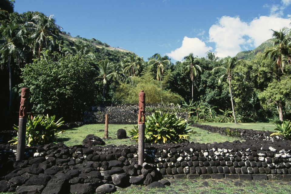 View of Marae of Arahurahu, Polynesian Sacred Site, Tahiti Island