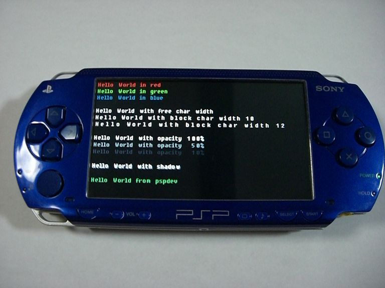 A rooted PSP running a Hello World! script