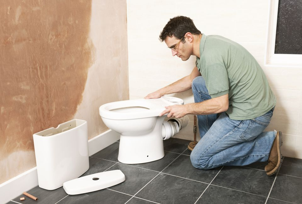 Installing a new toilet in bathroom