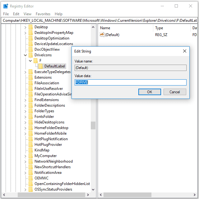 Screenshot showing how to change the volume label from Registry Editor in Windows 10