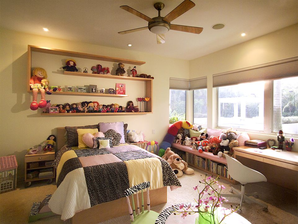 Built In Furniture Beautifully Displays Toys and Books. Space Saving Kids Furniture Ideas for Your Staged Home