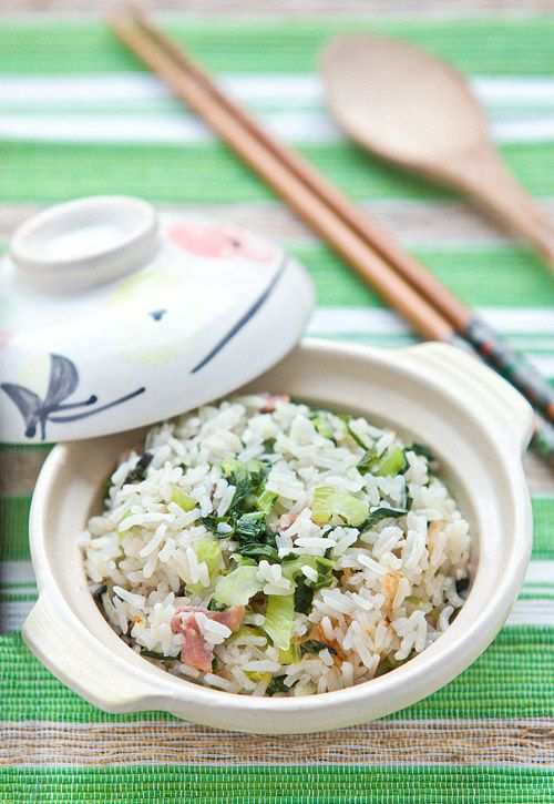 Cooked Rice with Bok Choy and Gammon Recipe