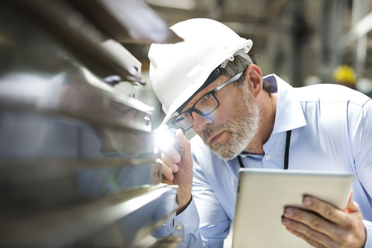 Engineer using tablet