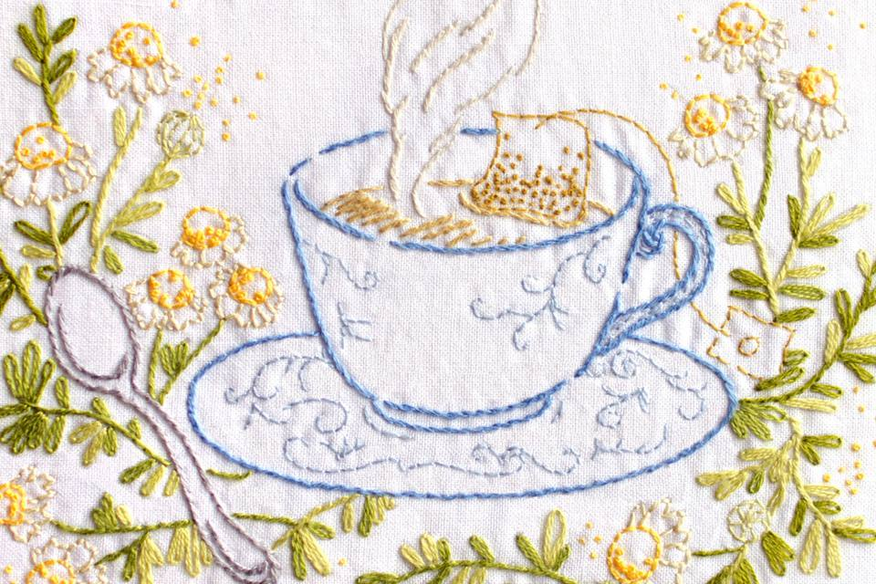 Teacup Embroidery Pattern