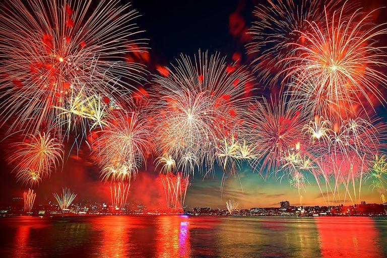 Fuegos de artificio celebrando el 4 de julio