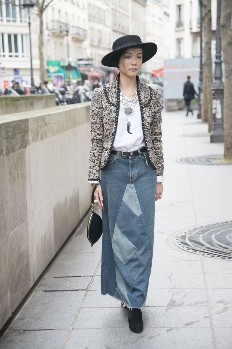 Street Style Photos What to Wear With a Denim Skirt
