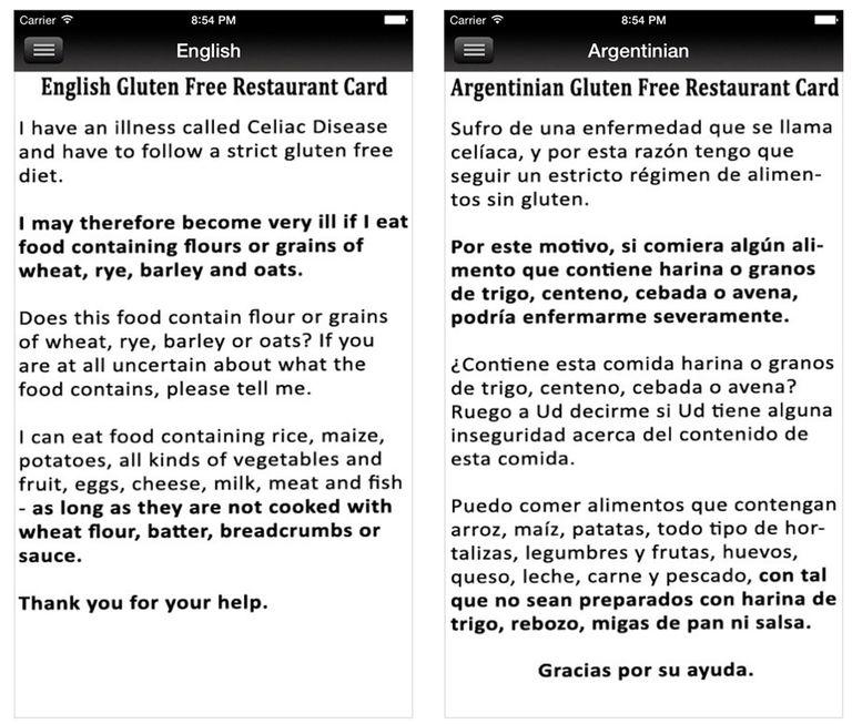 gluten-free restaurant cards app