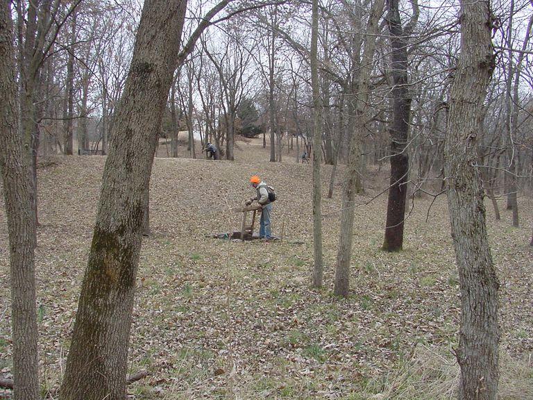 Shovel testing at Schlitterbahn Vacation Village Development Project in Kansas City, Kansas