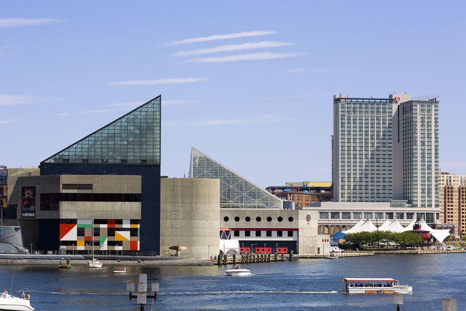 Buildings at the waterfront, National Aquarium, Inner Harbor, Baltimore, Maryland, USA