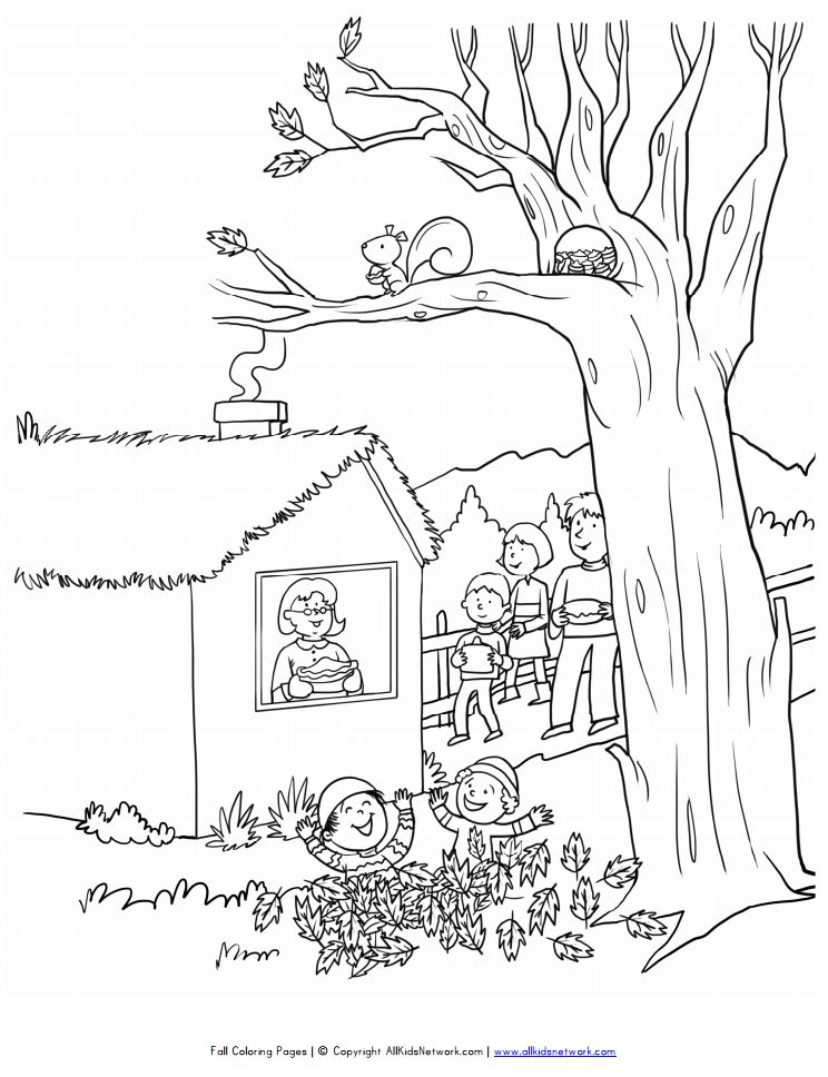 all kids networks printable fall coloring pages a fall scene - Coloring Pages Fall Printable