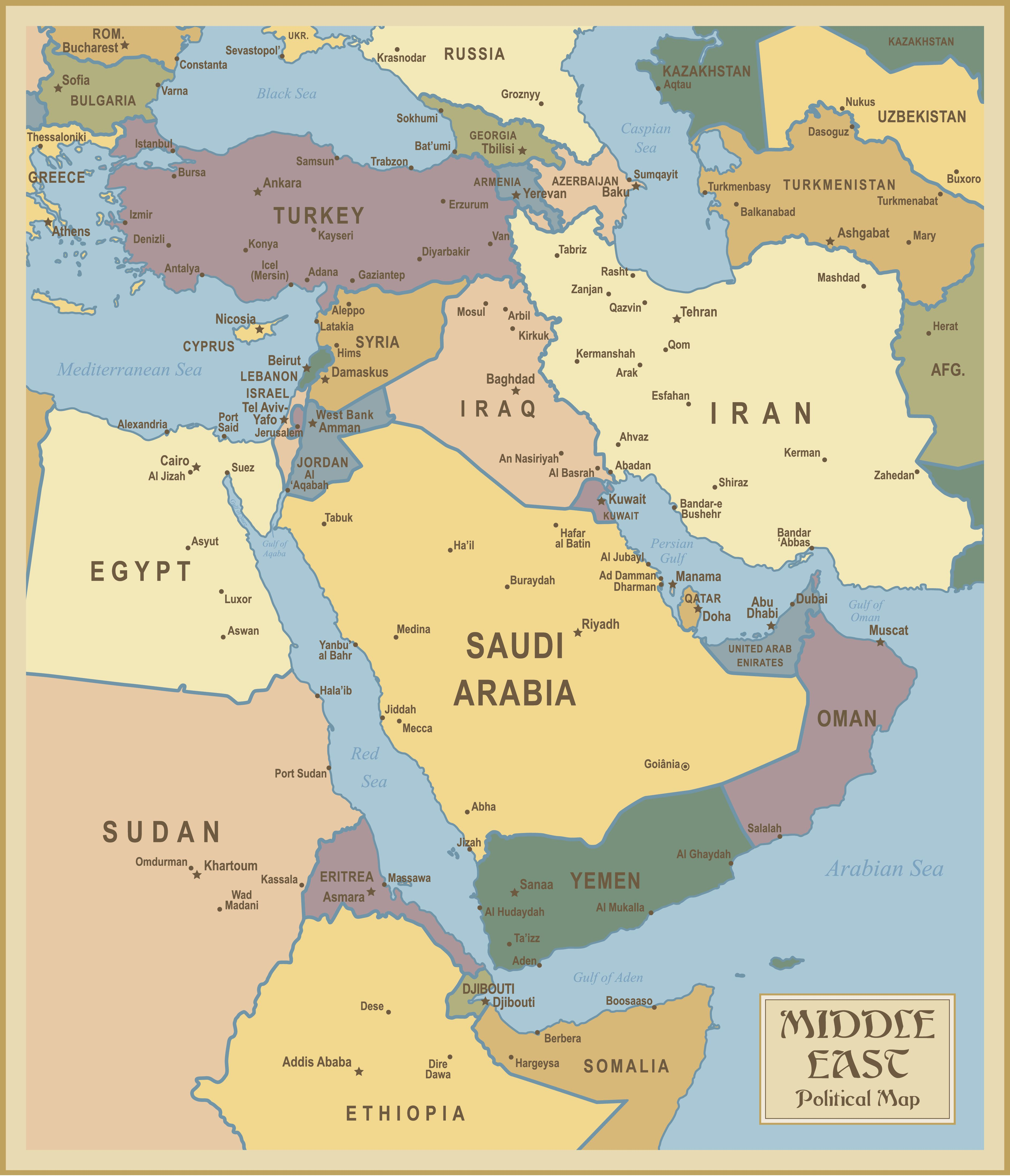Red Sea and Southwest Asia Maps Middle East Maps