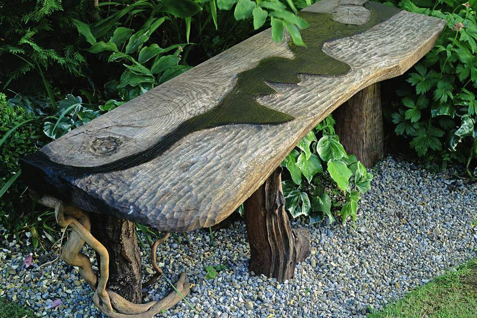 Garden Bench Made From Recycled Driftwood