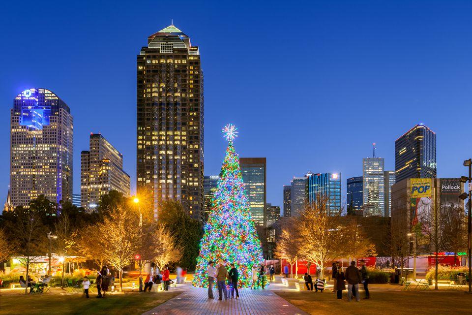 Christmas Tree, Klyde Warren Park, Dallas, Texas, America