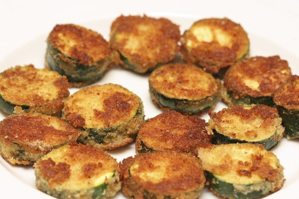 Breaded zucchini chips make a great vegetarian and vegan snack!