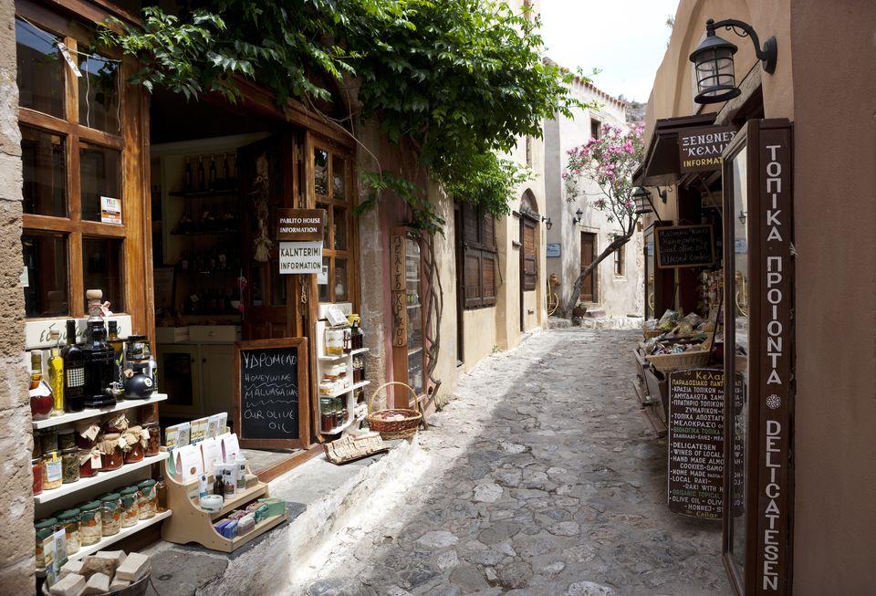 Greece, Monemvasia, alley in old town