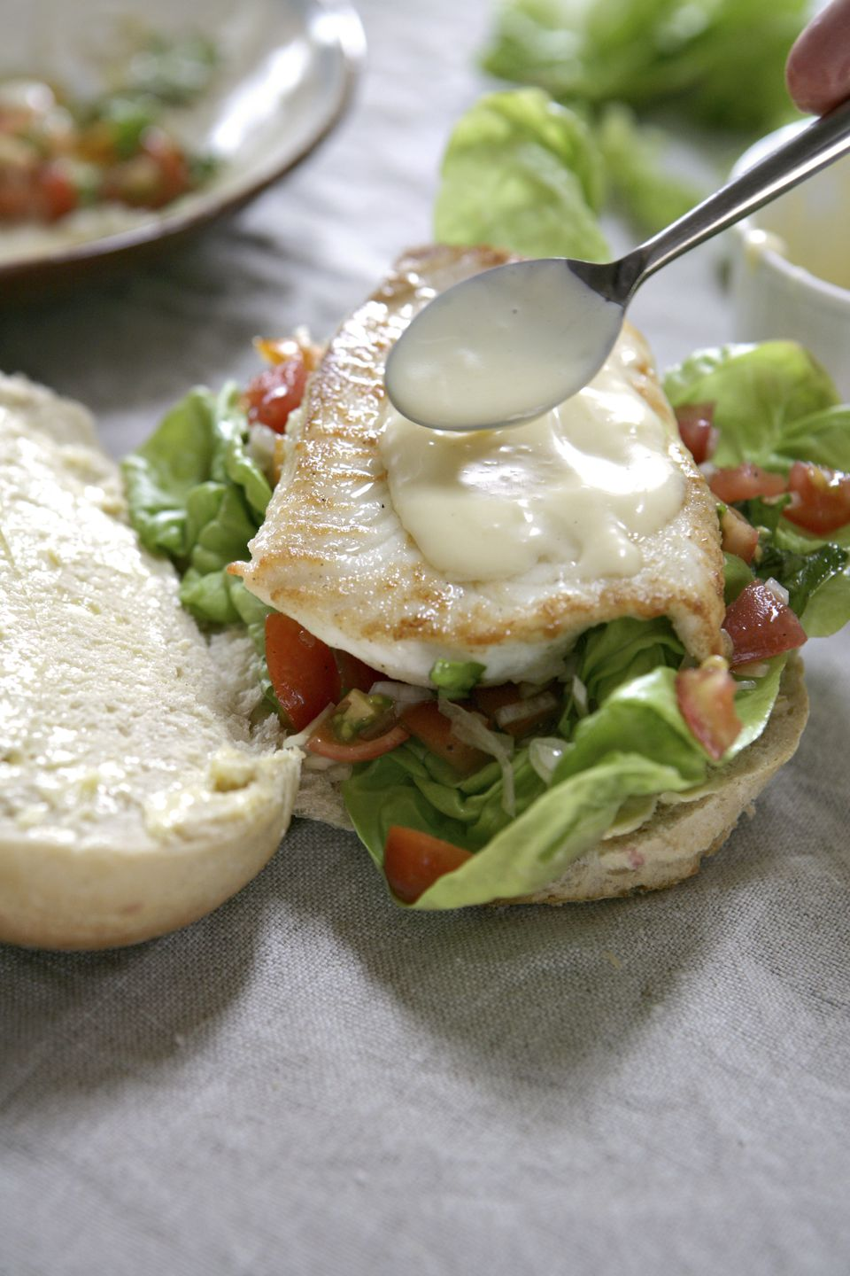 Plaice, lettuce and tomato sandwich