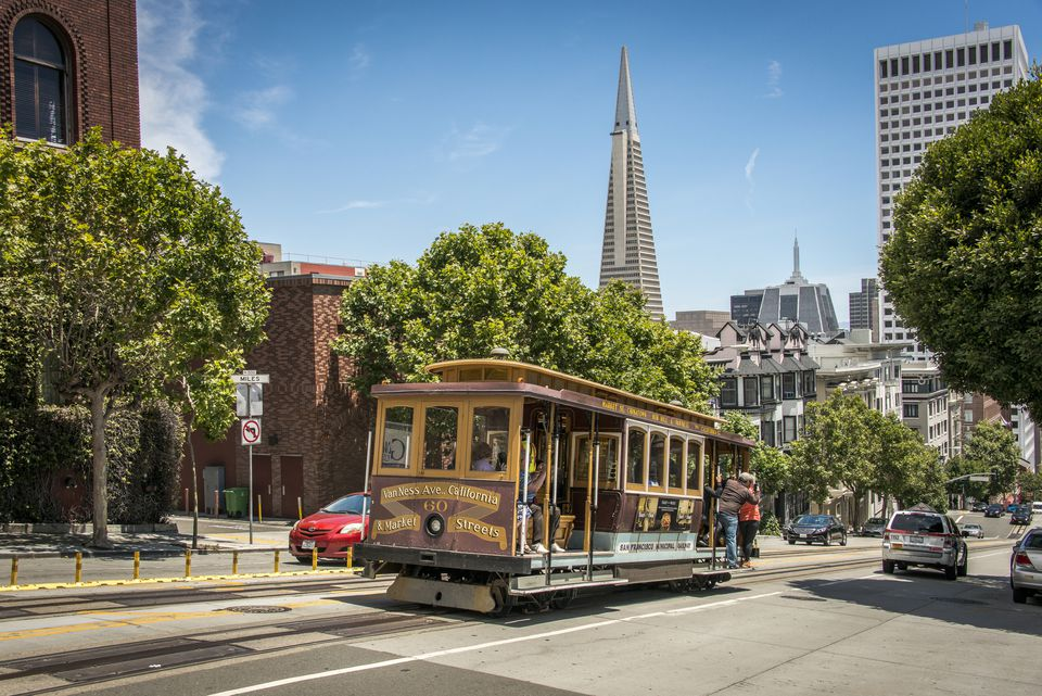 San Francisco Cable Car With Transamerica Building
