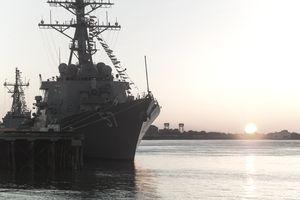 Warship In Dock