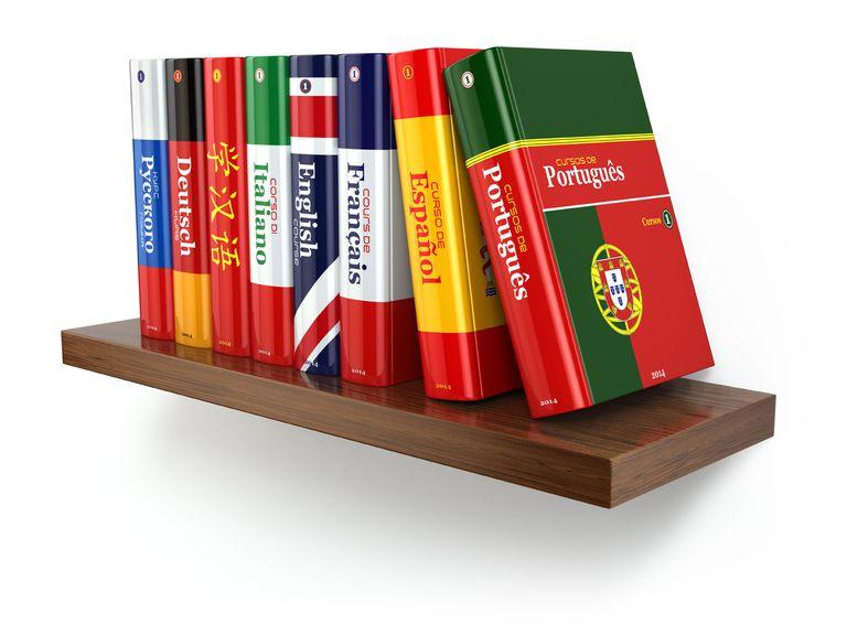 Translation books on a shelf
