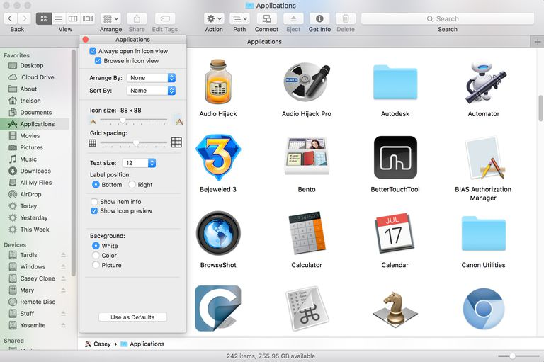 Finder Icon View Options