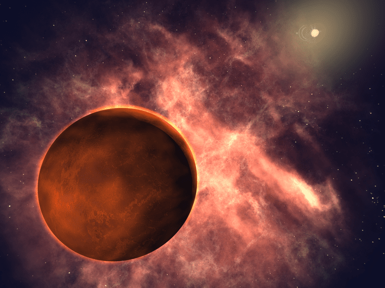 Sedna is a red world, like Mars. The Sun is very distant.