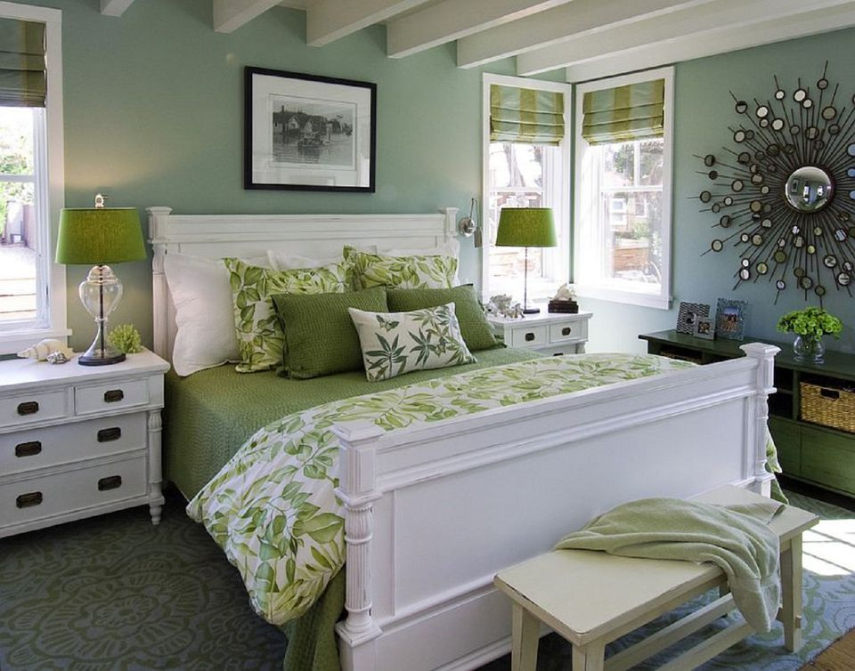 green and white bedroom - Master Bedrooms